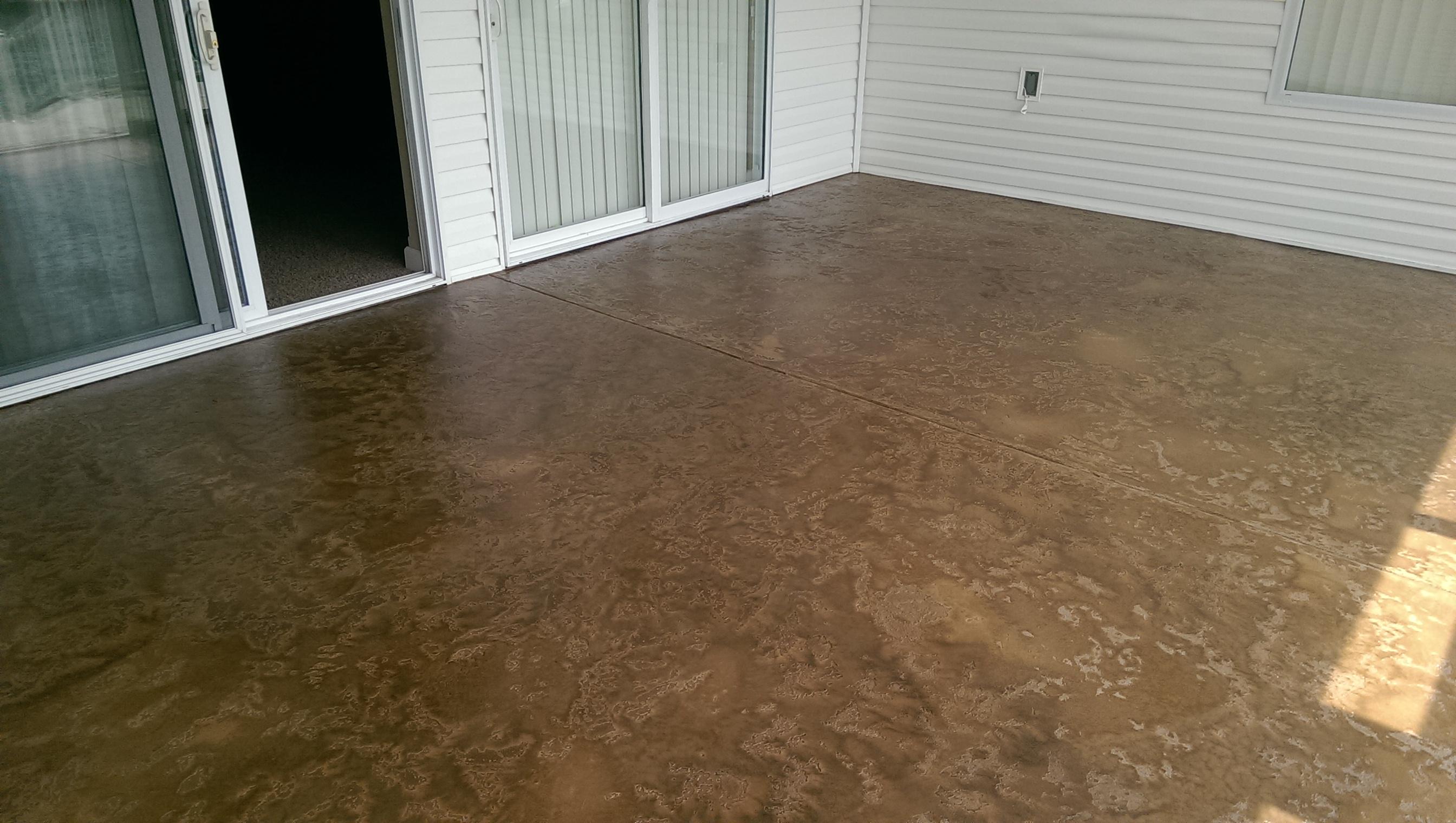 Textured Concrete Flooring : Decorative concrete condo deck tuscan slate texture brown