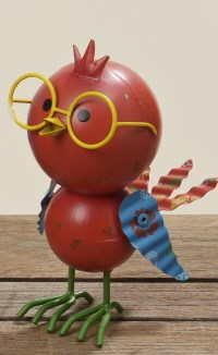 Bunter Deko Vogel - Figur Tweety mit Brille H 17cm aus Metall