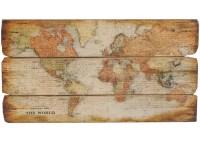 Holzschild antike Weltkarte XL Wandbild