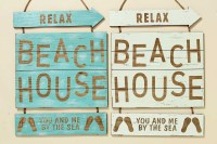 "Wandbild ""Beach House "" Shabby Chic Holzschild Wandobjekt"
