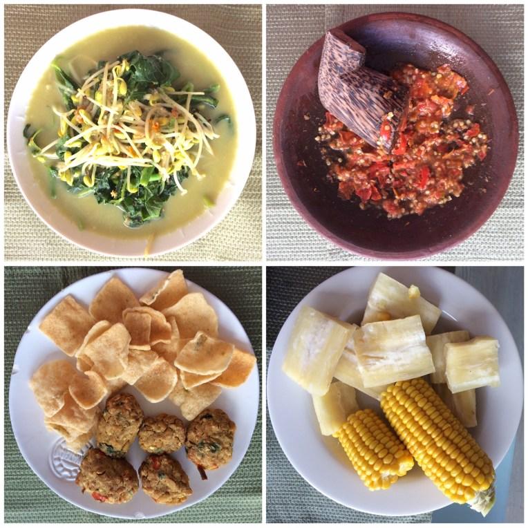 Sayur bobor yang dimakan bersama singkong kukus, jagung kukus, mendol panggang, sambel trasi mentah, dan kerupuk. Makan ini berasa lagi ada di Indonesia