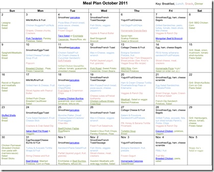 October 2011 Monthly Meal Plan - Confessions of a Homeschooler