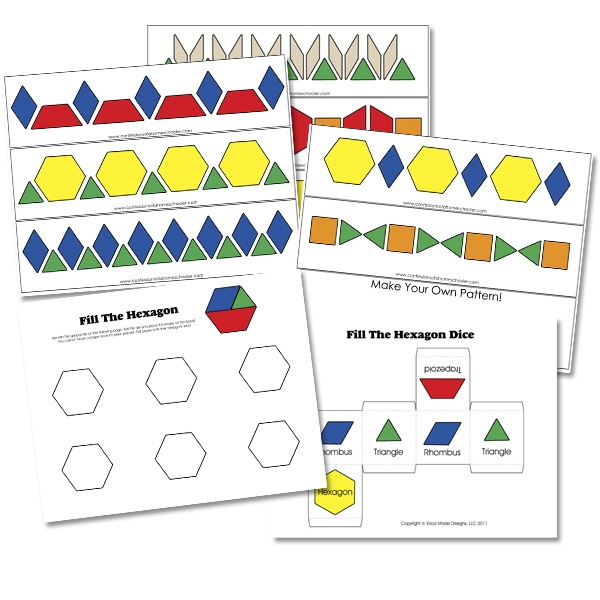 1-20 FREE B/W Pattern Block Cards - Confessions of a Homeschooler