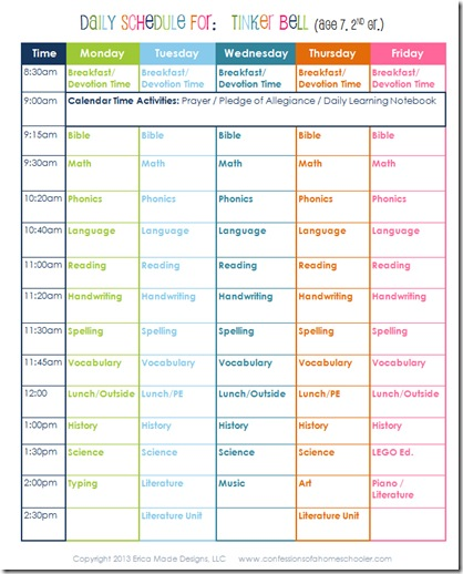 Daily Homeschool Schedule 2nd Grade - Confessions of a Homeschooler - homeschool schedule template