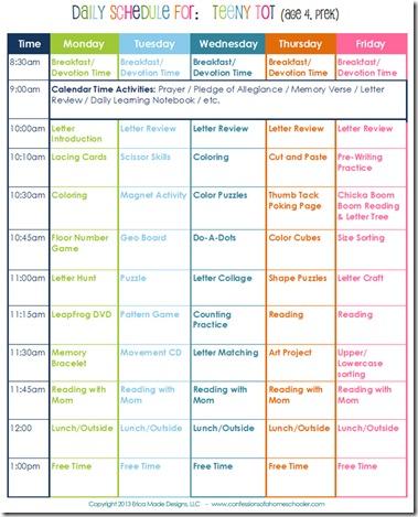 Daily Homeschool Schedule Preschool - Confessions of a Homeschooler