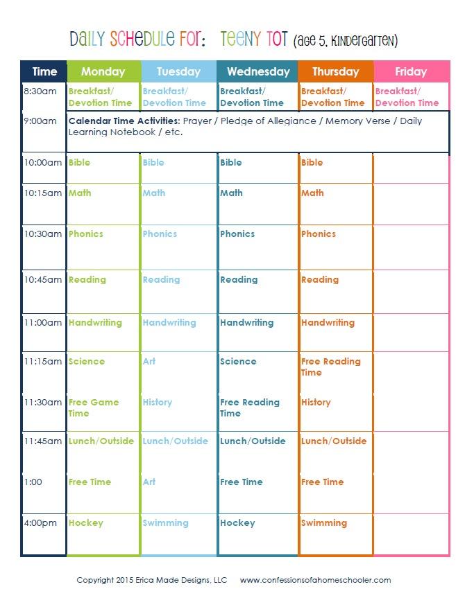 Kindergarten Daily Schedule - Confessions of a Homeschooler