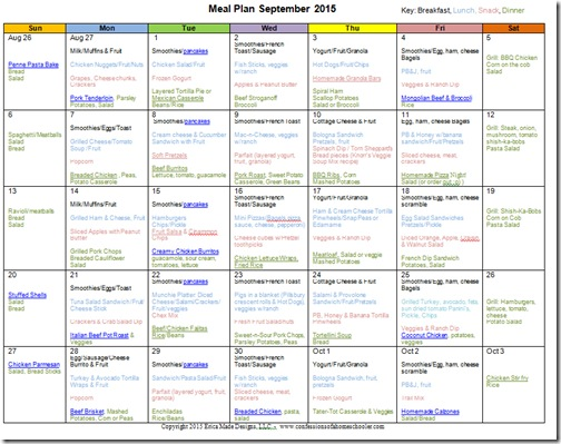 September 2015 Monthly Meal Plan - Confessions of a Homeschooler