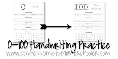 0-100 Kindergarten\u20131st Grade Number Writing Practice - Confessions