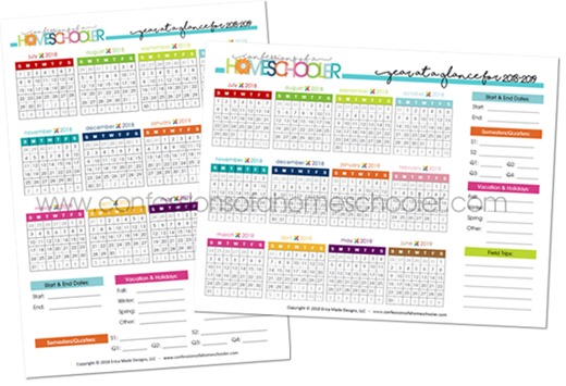 2018-2019 Year at a Glance Calendar Printable - Confessions of a