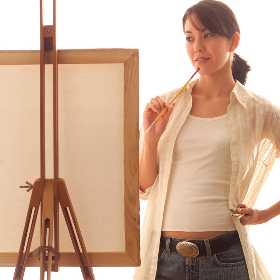 Fine Art Painter Contemplating Canvas