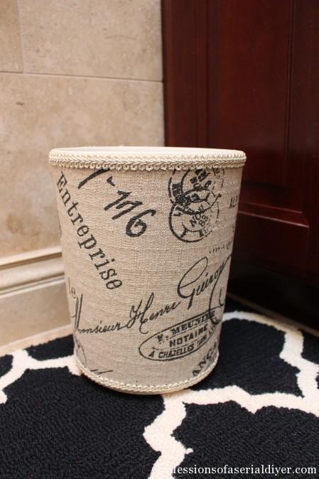 Fabric Covered Wastebasket