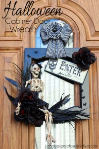 Halloween Wreath {from a Cabinet Door}   Confessions of a ...