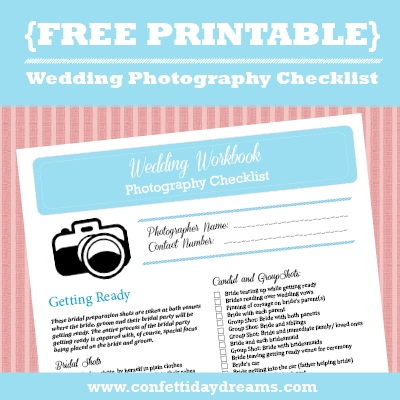 Wedding Photography Checklist FREE Printable - wedding list