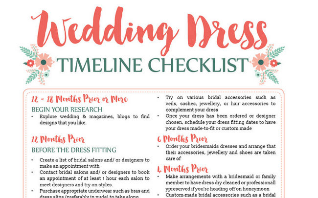 Awesome Wedding Dress Planning Timeline Download (FREE Printable!) - wedding timeline