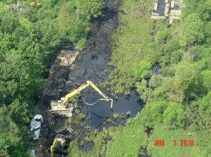 Tar sands oil sinks near Kalamazoo, Michigan: August 1, 2010. Source: EPA