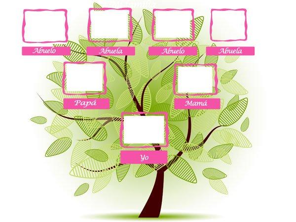 Árbol genealógico con marcos de fotos
