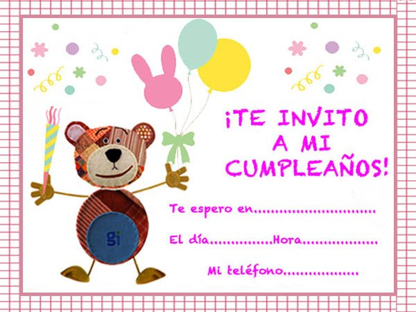 Propuestas de invitaciones de cumpleaños para niños con el Oso Traposo