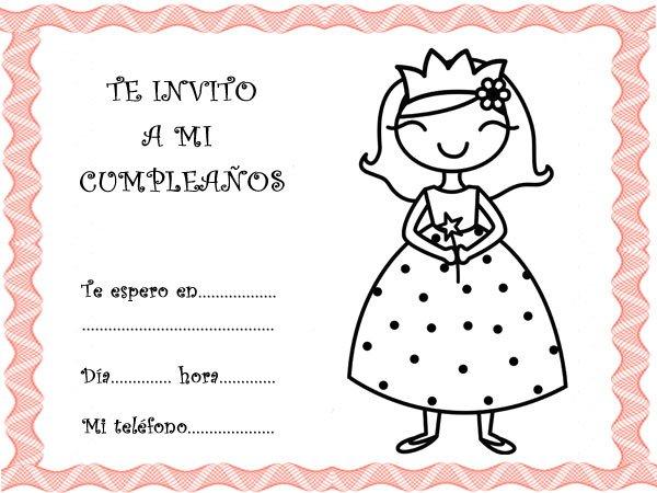 Tarjetas con princesas para para invitar a fiestas de cumpleaños
