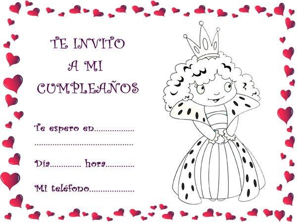 Invitaciones para imprimir y colorear con dibujos de princesas