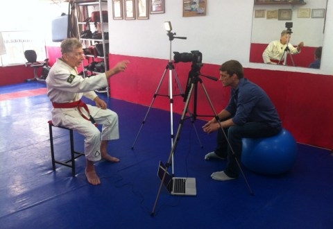 Dennis Asche interviewing Reyson Gracie as part of the BJJ Hacks ongoing documentary project