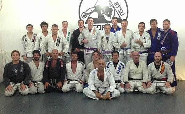 Far right standing, Travis Stevens. Kneeling, Kit Dale. Pictured at Gordo BJJ in Barra