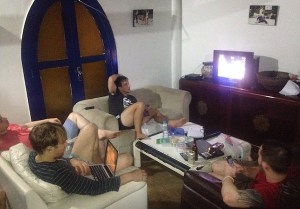 Watching the UFC at the Connection Rio house - yes we have cable!