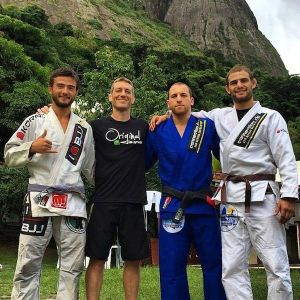 Connection Rio founder Dennis Asche with sponsored athletes (L-R) Abdallah Nabas, Mohammad Bilbaisi and Brian Carlsen