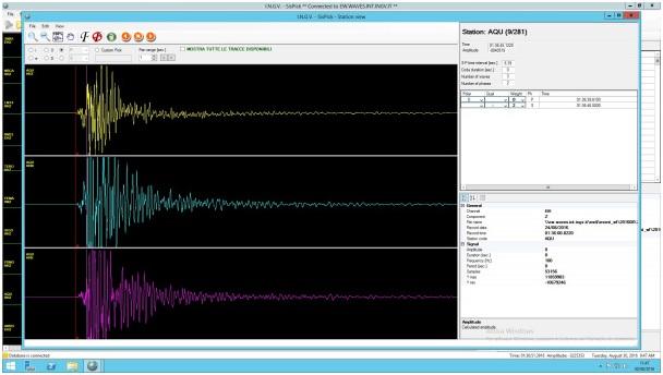 Sismogramma del terremoto di magnitudo M6.0 delle 03:36 del 24 agosto registrato alla stazione sismica AQU (L'Aquila) della Rete Sismica Nazionale dell'INGV.