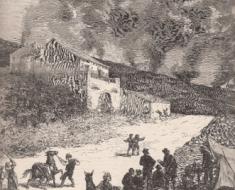 La Casa Cimino a Passopisciaro e la colata lavica diretta a valle (dalla copertina de L'Illustration, Parigi, 21 giugno 1879).