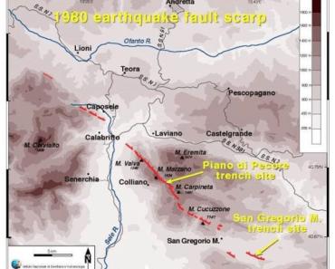 In rosso la traccia della scarpata di faglia prodotta dal terremoto dell'Irpinia del 23 novembre 1980 (Mw 6.8 secondo il CPTI15).