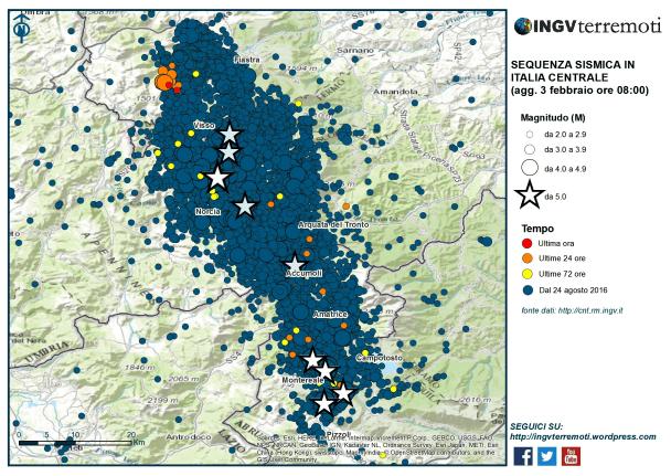La mappa della sequenza sismica in Italia Centrale dal 24 agosto 2016 al 3 febbraio 2017.