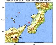 mappa scuotimento sisma calabria 28 sett 2018