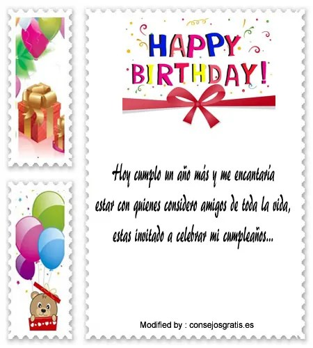 Frases Para Invitaciones De Cumpleaños Tarjetas De Cumpleaños