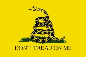 The Gadsden flag. The Tea Party commonly works under this flag.