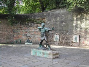 Robin Hood stands near Nottingham Castle