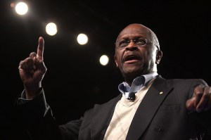 Herman Cain speaks to the Tea Party