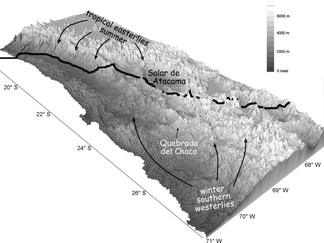 3D relief map of the Atacampa Plateau.