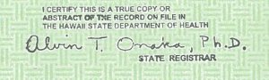 Obama birth certificate misspelling and whimsical signature. A new Obama eligiblity affidavit says that this registrar's stamp was pasted on.