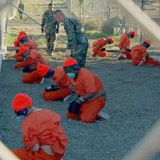 Detainees at Camp X-ray, Guantanamo Bay, Cuba