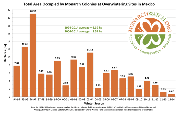 Monarch abundance in wintering grounds is measured as area in hectares. They roost in large colonies in the Transvolcanic Mountains in Mexico. The 2013-2014 overwintering population experienced the lowest recorded area to date, at 0.67 ha. From MonarchWatch.org.