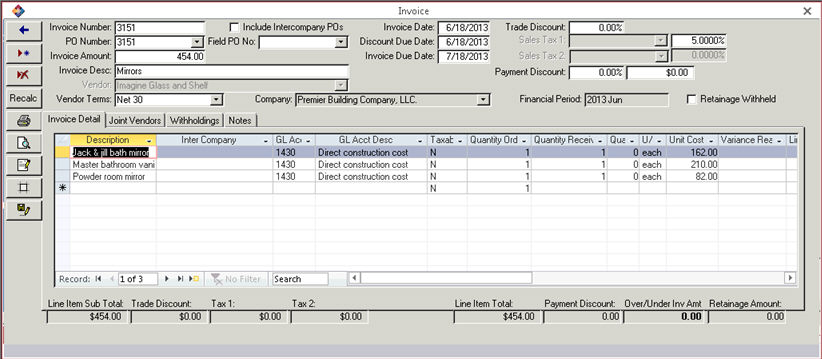 Adding or Editing an Invoice