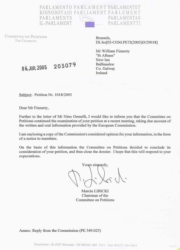 Scanned copies of Petition letter and attachment from EU dated July