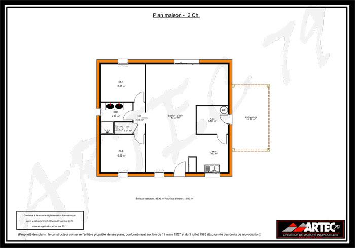 plan de maison gratuit 2 chambres