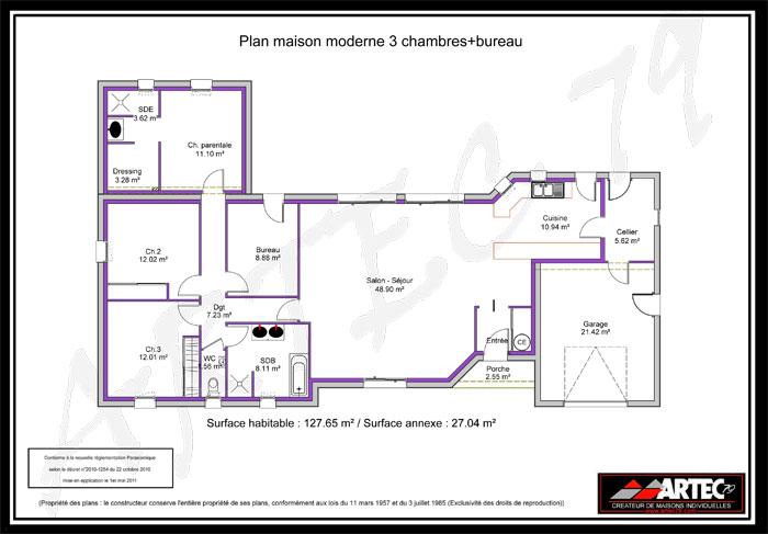 Plan maison neuve à construire - Maisons France Confort Patrimonia - plan maison une chambre