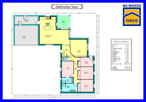 Maison Edison - Plan de maison Moderne par Archionline - plan maison une chambre