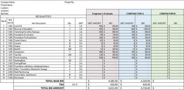 Itemized Construction Bid Template \u2013 Itemized Construction Bid - construction bid
