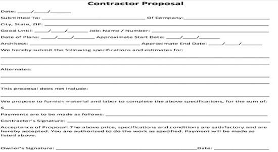 Contractor Agreement Contractor Proposal Bid Form Contractor - bid format