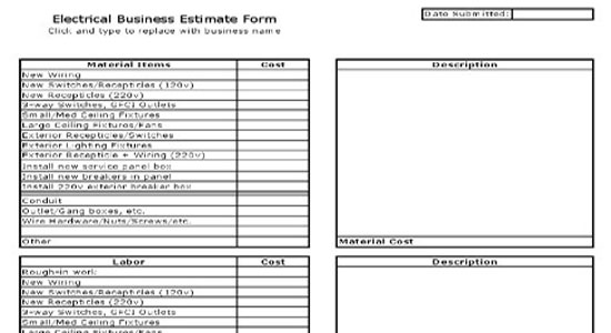 Electrical Business Estimate Sheet - job sheet template free download