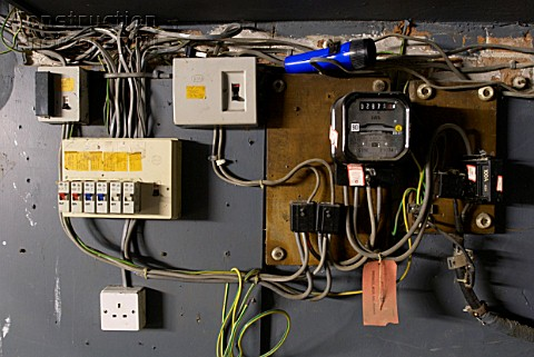 A088-03445 Old electrical installation with switch box