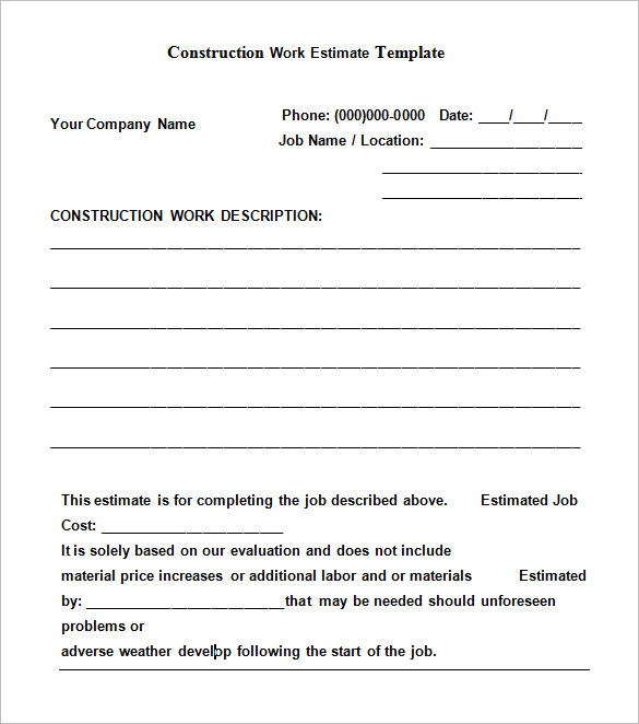 Free Construction Estimate Templates Collections - free estimate templates